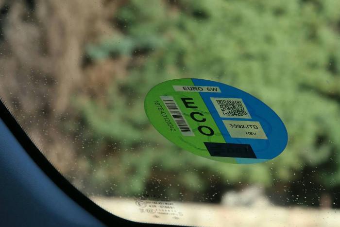 Vehículo con la etiqueta medioambiental Eco
